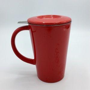 David's Tea Red Porcelain Lid & Infuser Mug